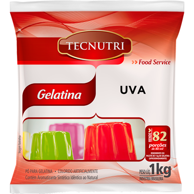 Gelatina sabor uva 1kg Tecnutri pacote PCT
