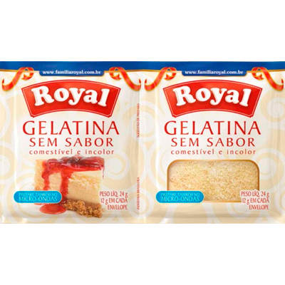 Gelatina sem sabor, incolor 24g Royal  UN