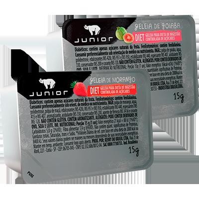 Geleia diet sabor Morango e Goiaba unidades de 15g Junior blister UN