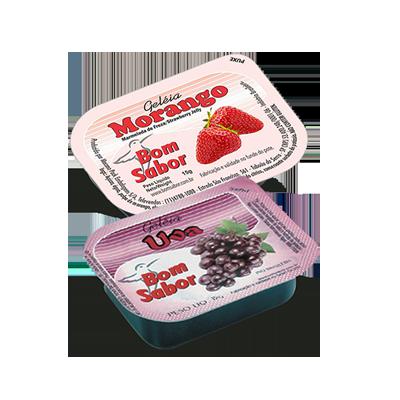 Geleia diet sabor Morango e Uva unidades de 15g Bom Sabor blister UN