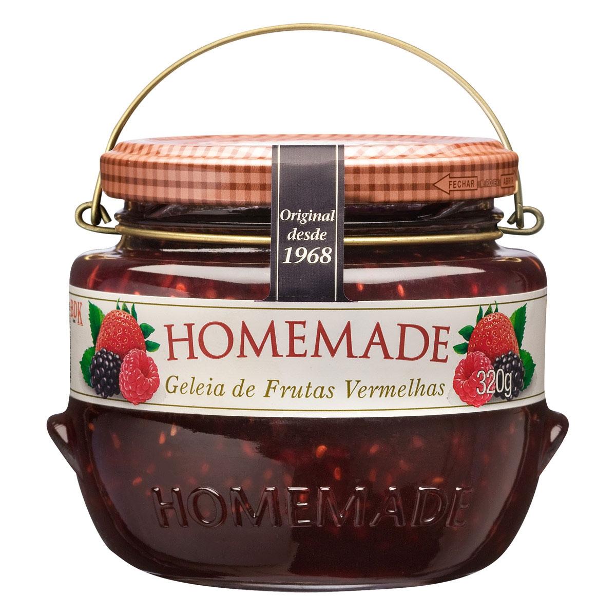 Geleia sabor frutas Vermelhas 320g Homemade pote UN