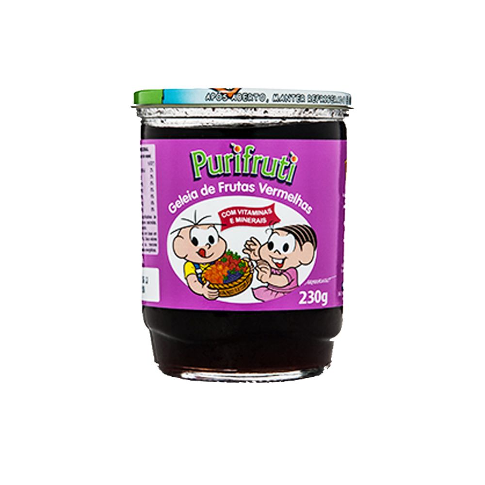 Geleia sabor frutas Vermelhas turma da mônica 230g Purifruti pote UN