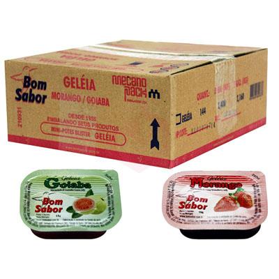 Geleia sabor Morango e Goiaba unidades de 15g Bom Sabor blister UN