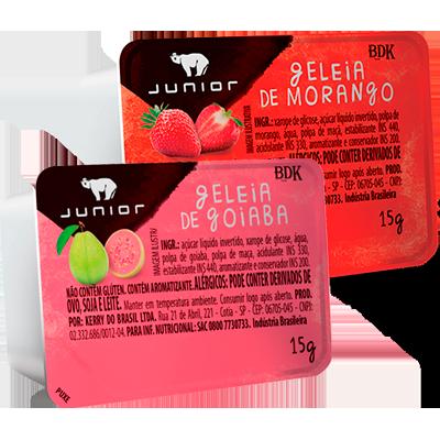 Geleia sabor Morango e Goiaba unidades de 15g Junior blister UN