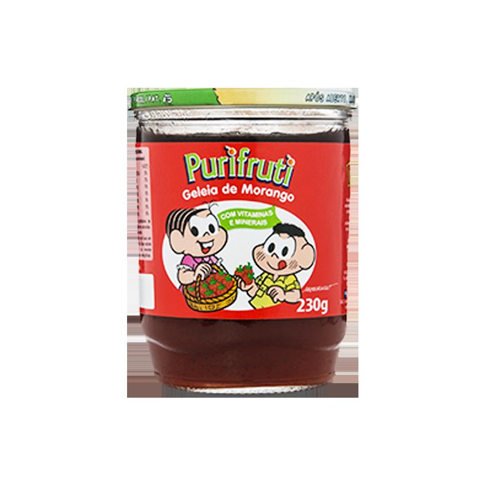Geleia sabor Morango turma da mônica 230g Purifruti pote UN