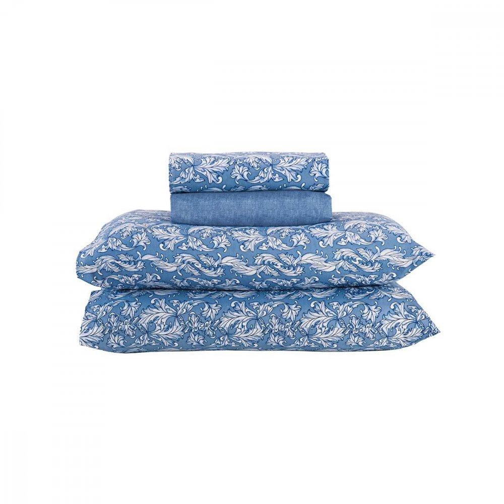 Jogo de Cama Casal Hortência Floral Azul 4 peças Andreza  UN