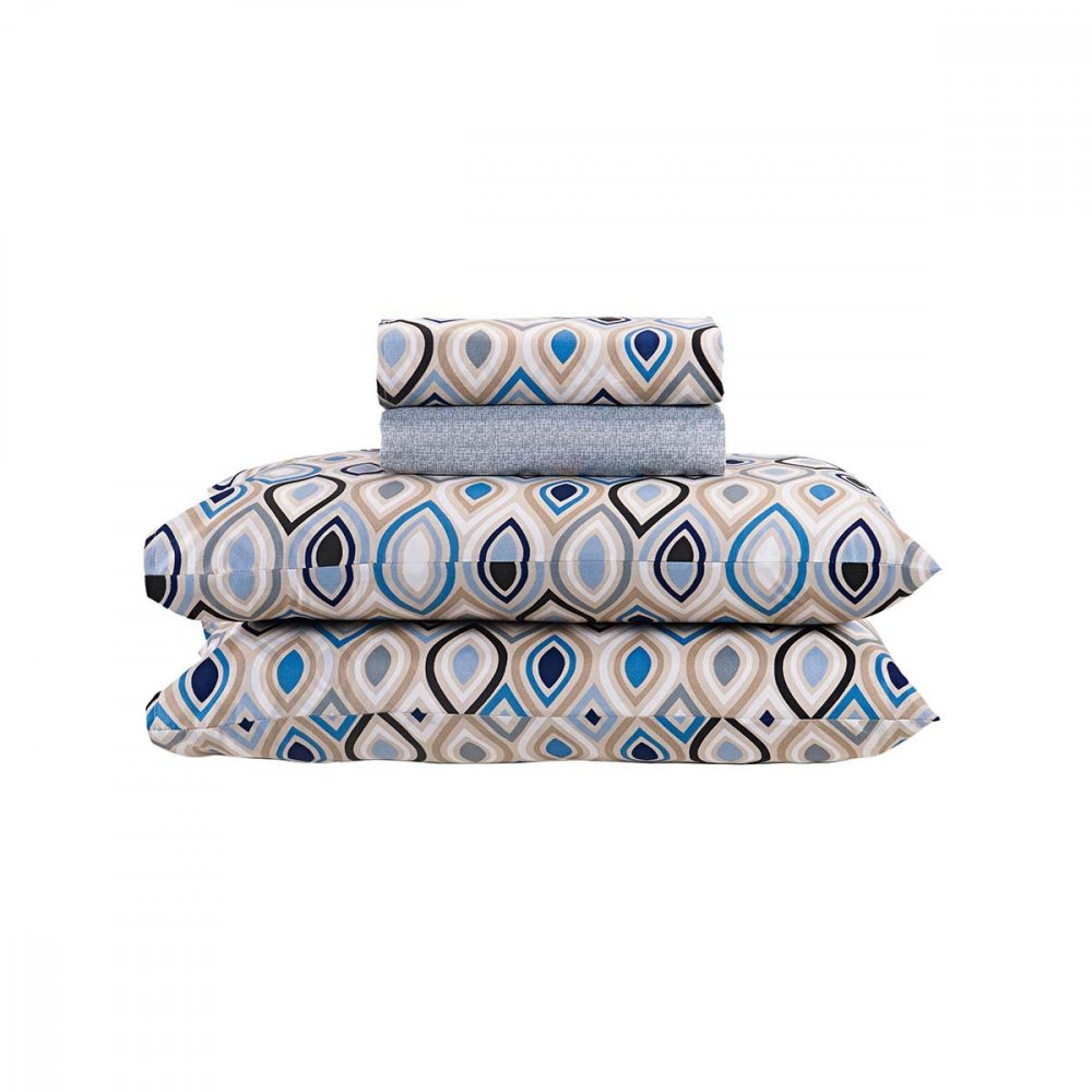 Jogo de Cama Casal Losango Gotas Geométricas Azul 4 peças Andreza  UN