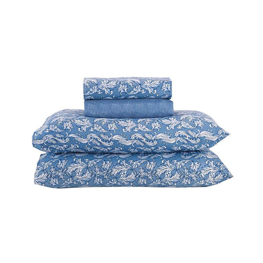 Jogo de Cama Solteiro Hortência Floral Azul 3 peças Andreza  UN