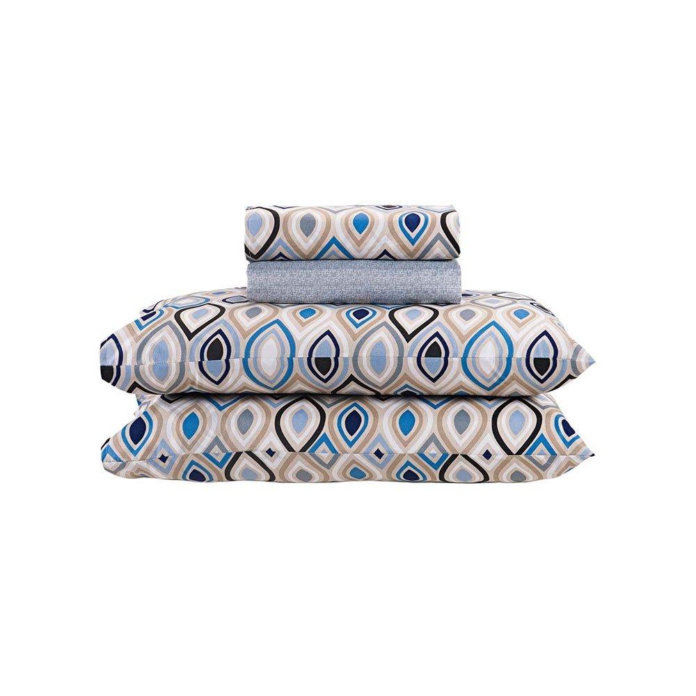 Jogo de Cama Solteiro Losango Gotas Geométricas Azul 3 peças Andreza  UN