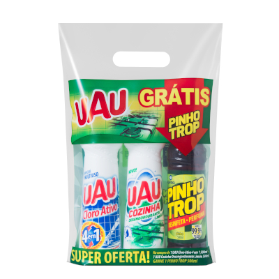 Kit Limpador 1 Cloro Ativo 4 em 1 + 1 Desengordurante Cozinha + Grátis 1 Pinho Trop  500ml Uau kit com 3 produtos UN