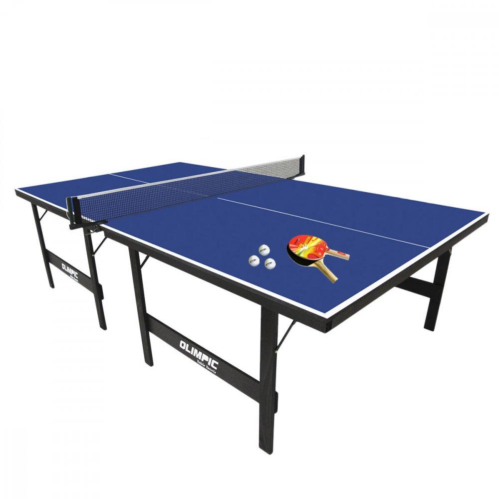 Kit Mesa de Ping Pong 15mm em MDP 1013 Azul 1 Mesa + 2 Raquetes + 3 Bolinhas + Suporte e Rede Klopf  PCT