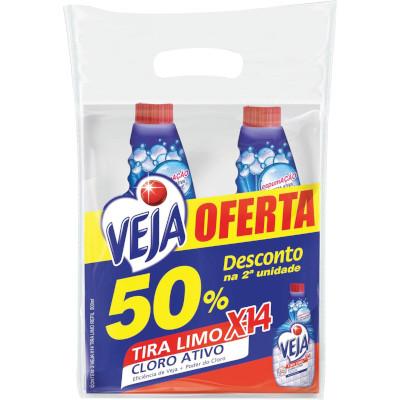 kIT Tira Limo com Cloro Ativo 2 unidades de 500ml Veja X-14  UN