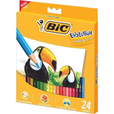Lápis de Cor 24 Cores 24 unidades Bic Evolution caixa UN