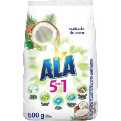 Lava-Roupas em Pó Cuidado do Coco 500g Ala/5 em 1 pacote UN