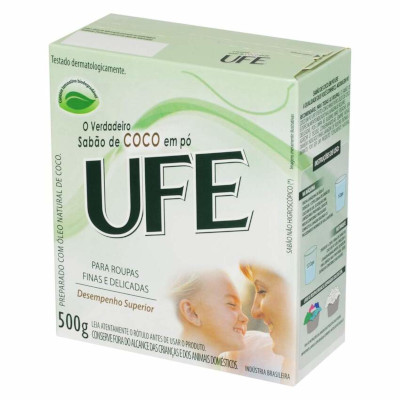 Lava-Roupas em pó de coco para roupas delicadas 500g UFE caixa UN