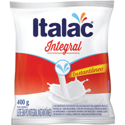 Leite em Pó Integral Instantâneo 400g Italac pacote UN