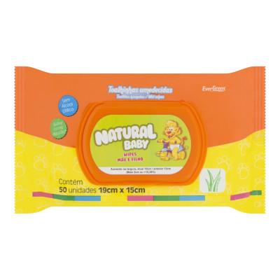Lenços Umedecidos descartáveis  50 unidades Natural Baby sachê UN