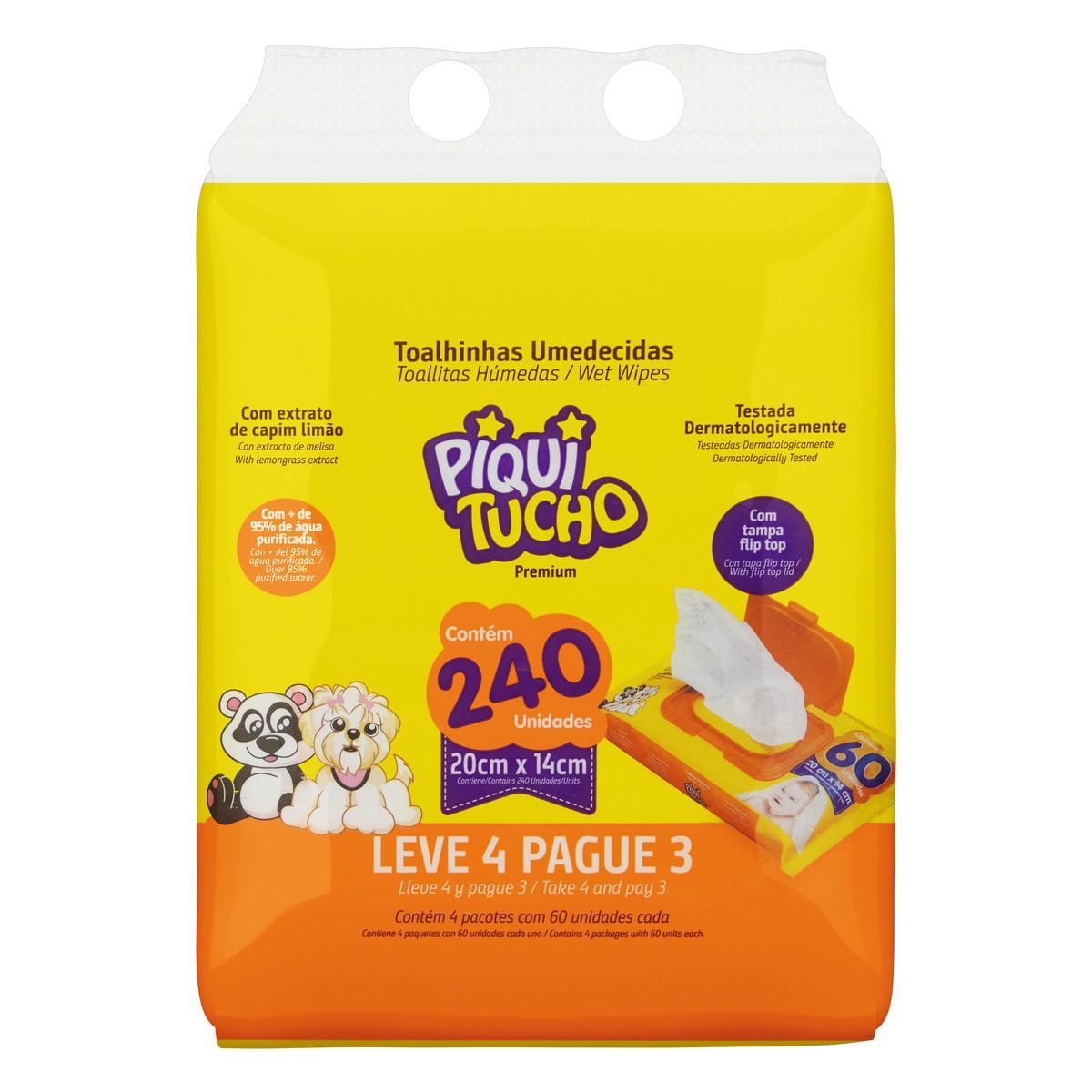 Lenços Umedecidos Leve 4 Pague 3 4 pacotes com 60 unidades Piquitucho pacote PCT