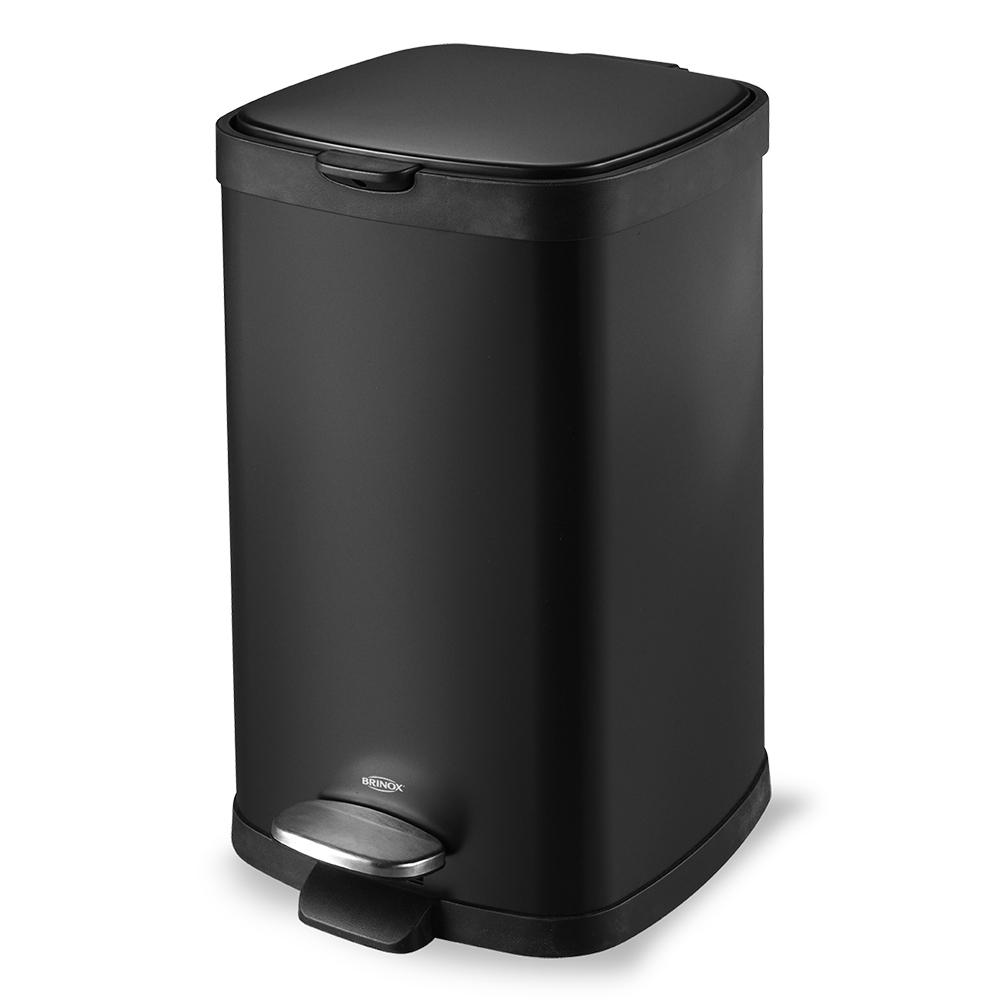 Lixeira  Aço Carbono com Pedal e Balde Preto Frame 12 Litros Brinox  UN