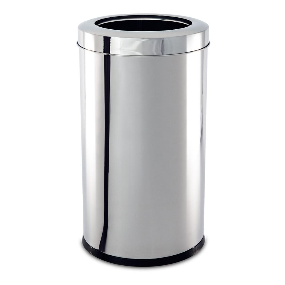 Lixeira  Aço Inox com Aro 21,2 Litros Decorline Ø 25 x 46 cm Brinox  UN