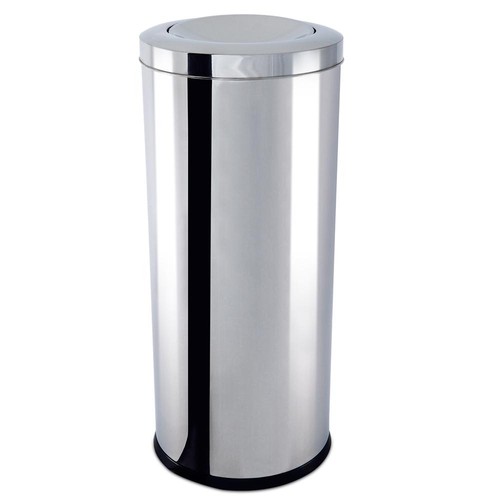 Lixeira  Aço Inox com Tampa Basculante 47 Litros Decorline Ø 30 x 70 cm Brinox  UN