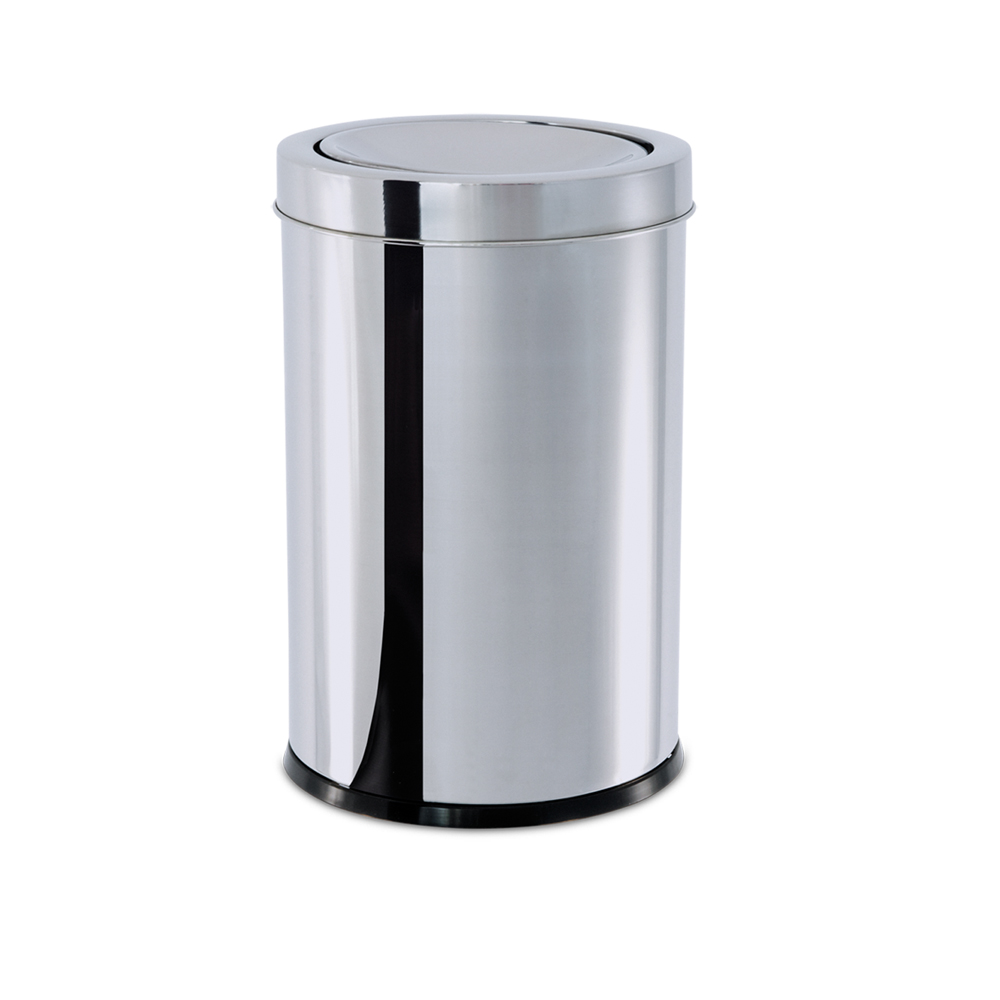 Lixeira  Aço Inox com Tampa Basculante 7,8 Litros Decorline Ø 18,5 x 29 cm Brinox  UN