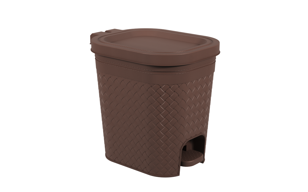 Lixeira  com Pedal Craft 14,7 Litros Marrom Polipropileno(PP)  32.6x25.5x32.4 cm Coza  CX