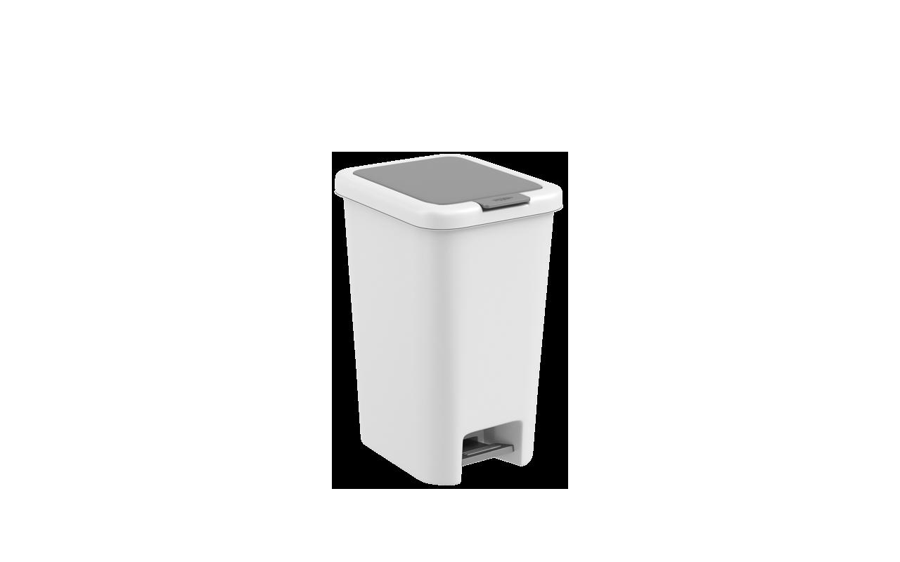 Lixeira  com Pedal Double 10 Litros Branco Polipropileno(PP) 27x20x35 cm Coza  CX