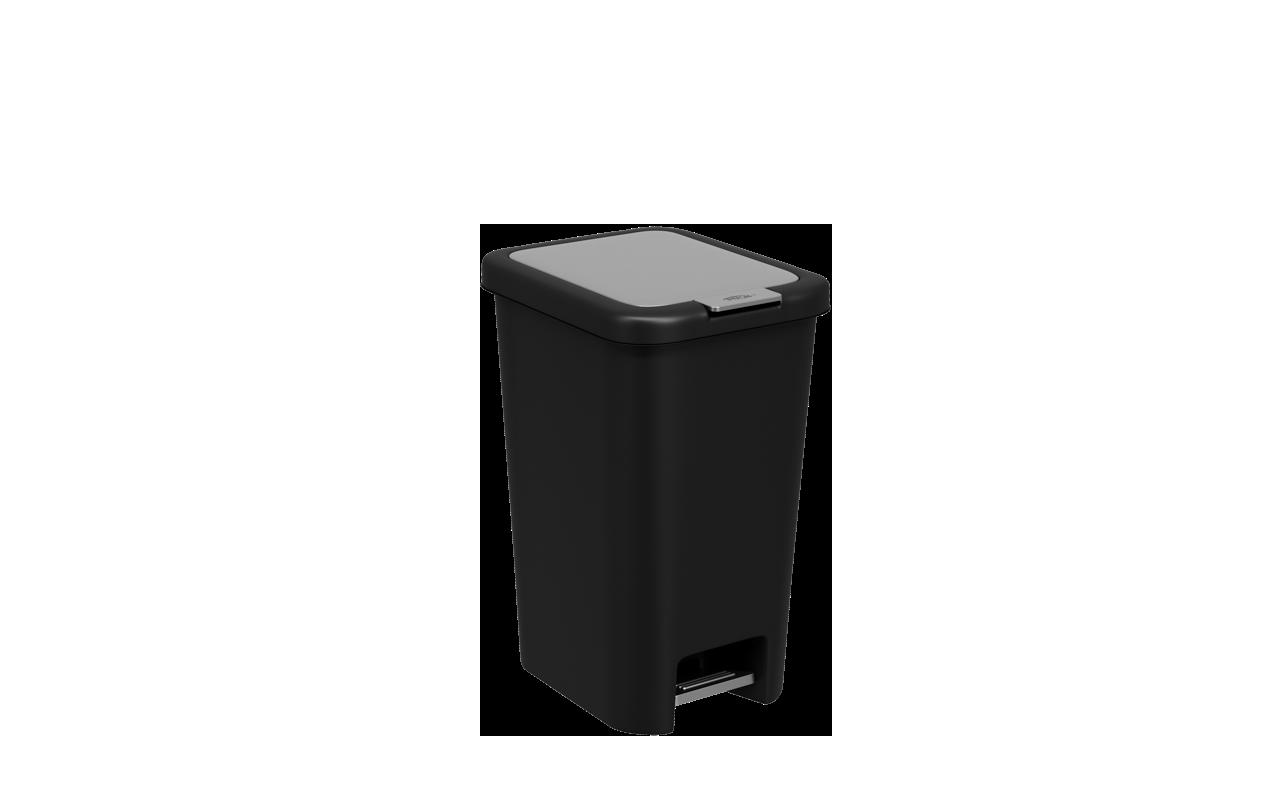 Lixeira  com Pedal Double 10 Litros Preto Polipropileno(PP) 27x20x35 cm Coza  CX
