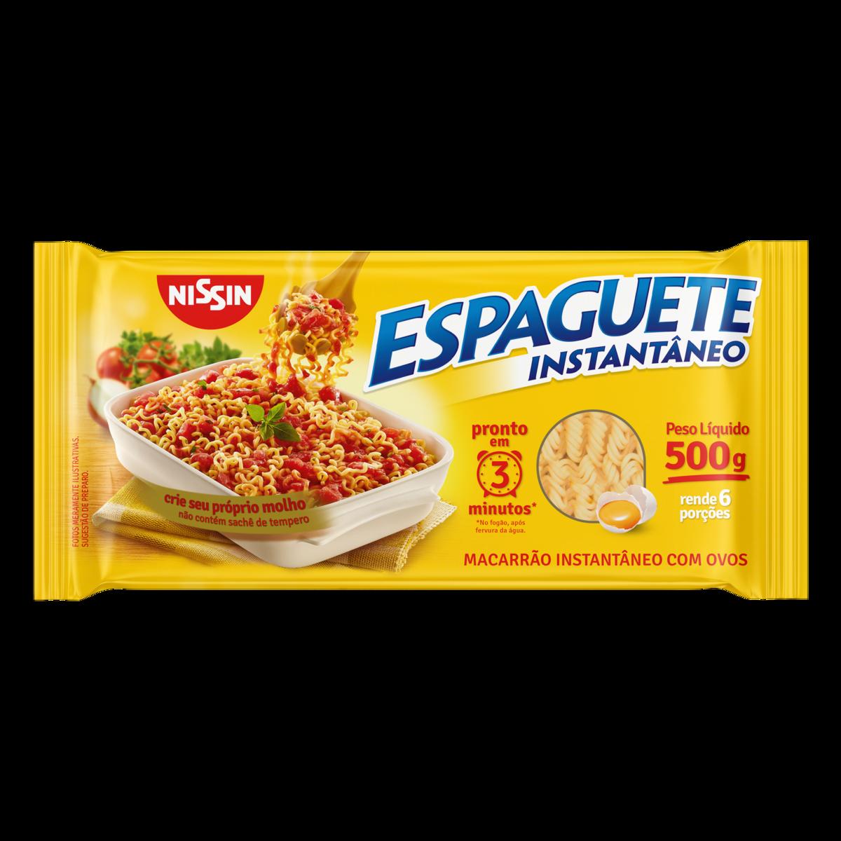 Macarrão Instantâneo Espaguete 3 Minutos 500g Nissin pacote UN
