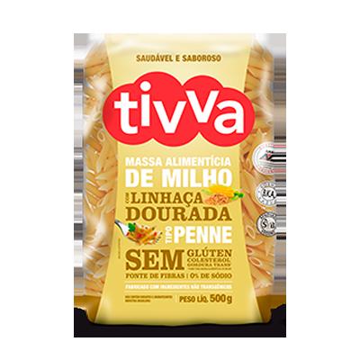Macarrão Penne de Milho com Linhaça Dourada 500g Tivva pacote UN