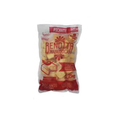 Mandioca tablete picante congelada 1,2kg Bendita Mandioca pacote PCT