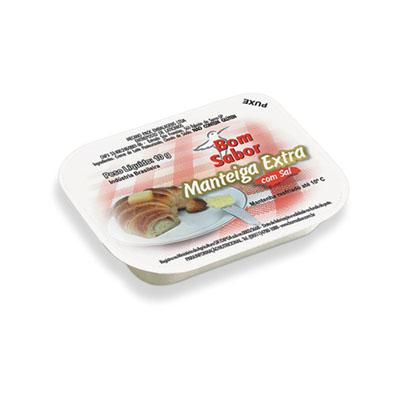 Manteiga com Sal 144 unidades de 10g Bom Sabor caixa CX