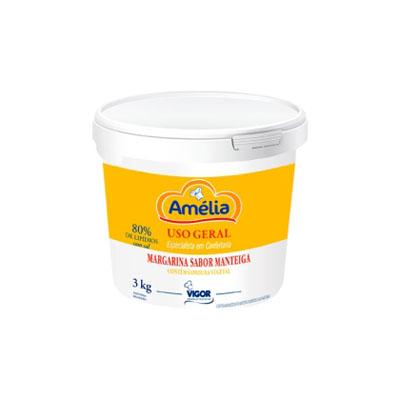 Margarina com Sal 80% Lipídeos 3kg Amélia balde BD