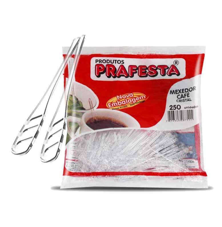 Mexedor de café cristal 250 unidades Prafesta pacote PCT