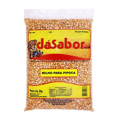 Milho de pipoca  2kg DáSabor pacote UN