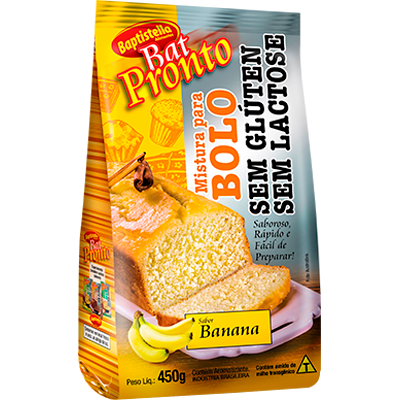 Mistura para Bolo sabor banana sem glúten sem lactose 450g Batpronto/Baptistella pacote UN