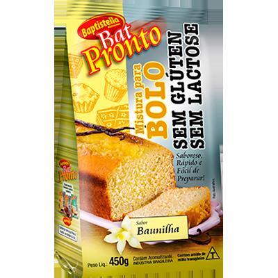 Mistura para Bolo sabor baunilha sem glúten sem lactose 450g Batpronto/Baptistella pacote UN
