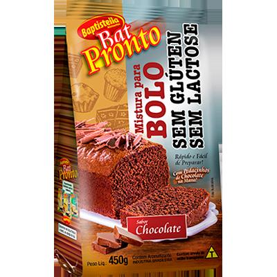 Mistura para Bolo sabor chocolate sem glúten sem lactose 450g Batpronto/Baptistella pacote UN