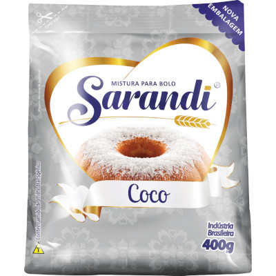 Mistura para Bolo sabor Coco 400g Sarandi pacote PCT