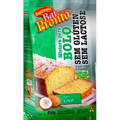 Mistura para Bolo sabor coco sem glúten sem lactose 450g Batpronto/Baptistella pacote PCT