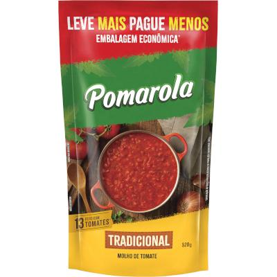 Molho de Tomate Tradicional  520g Pomarola  sachê UN
