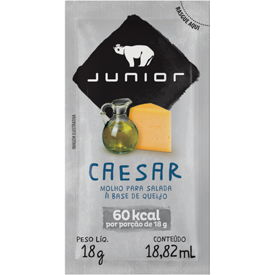 Molho para Salada Caesar 180 unidades de 18g Junior caixa CX