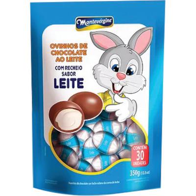 Ovinhos de Chocolate ao Leite com Recheio sabor Leite 350g Montevergine pacote PCT