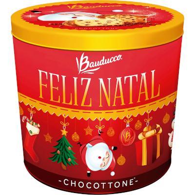 Panetone gotas de chocolate 750g Bauducco Chocottone lata UN