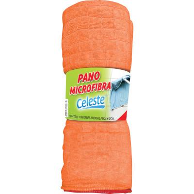 Pano de limpeza Microfibra 48x58 3 unidades Celeste  UN
