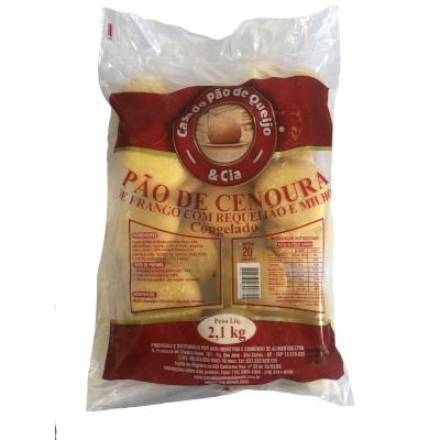 Pão de Cenoura Frango com Requeijão e Milho 20 unidades Casa do Pão de Queijo pacote 2,5kg PCT