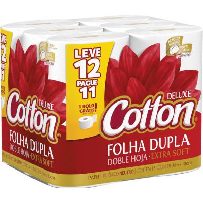 Papel Higiênico Folha Dupla (12 unidades de 30 metros) Cotton pacote PCT