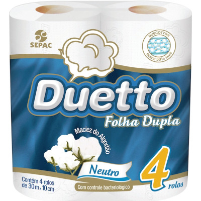 Papel Higiênico Folha Dupla 4 unidades de 30m Duetto pacote PCT