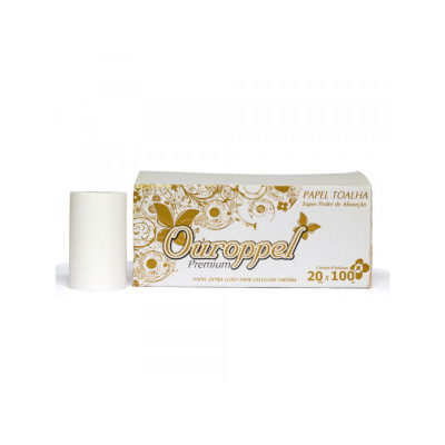 Papel Toalha Bobina Extra Luxo 100% Celulose (8 bobinas de 100m) Ouroppel caixa CX